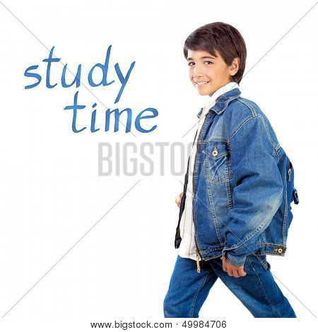 Happy school boy isolated on white background, first day at school, text space, back to school, knowledge and education concept