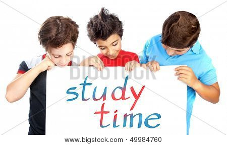 Three classmate holding board with colorful text isolated on white background, study time, cute happy boys, back to school concept