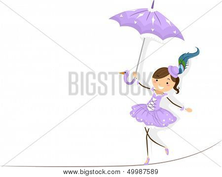 Illustration of a Female Circus Performer Walking on a Tightrope