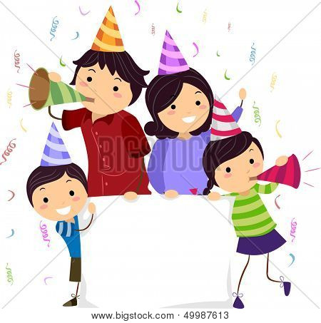 Banner Illustration of a Stickman Family Wearing Party Hats and Blowing Noisemakers