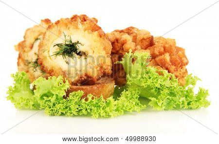 Chicken Kiev isolated on white