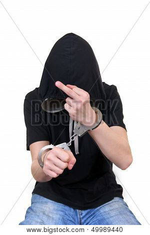 Man In Handcuffs Shows Middle Finger