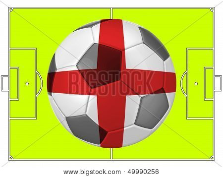 Soccer Football With England Flag Illustration, Concept