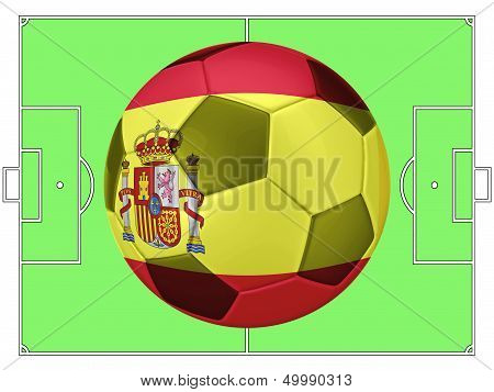 Soccer Football With Spain Flag Illustration, Concept