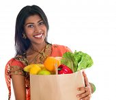 Happy grocery shopper. Portrait of beautiful traditional Indian woman in sari dress holding paper sh