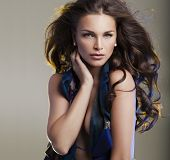 stock photo of wearing dress  - Brunette beauty and sexy woman wearing dress - JPG