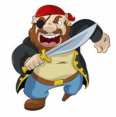 picture of buccaneer  - Vector image of funny cartoon pirate with sword - JPG