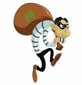 pic of greed  - Vector image of funny cartoon evil thief - JPG