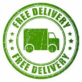 picture of shipping receiving  - Free delivery vector stamp isolated on white background - JPG