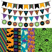 Vector Collection of Halloween Themed Bunting and Seamless Tileable Backgrounds