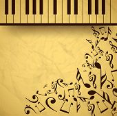 picture of rainbow piano  - Vintage musical background with piano and musical notes - JPG
