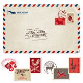stock photo of holy  - Christmas Vintage Postcard with Postage Stamps  - JPG