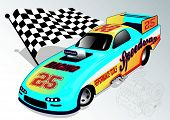 foto of dragster  - Vector illustration of a dragster with flag - JPG