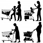 Editable vector silhouettes of people and their supermarket shopping trolleys with all elements as s