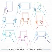 Hand gesture on 7 inch tablet set, in colorful line art
