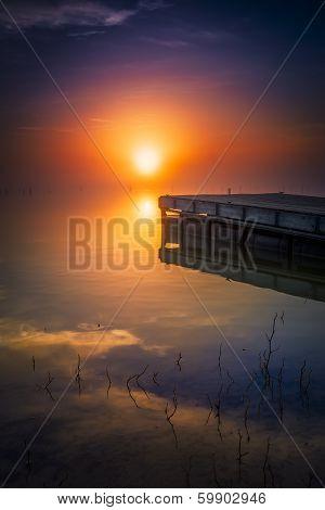 Misty Sunrise Over Benbrook Lake