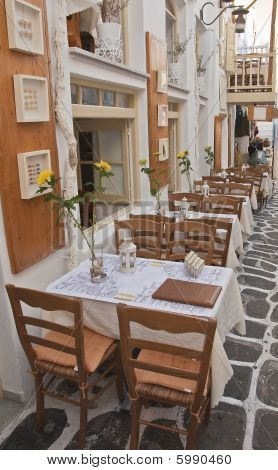 restaurant with tables on the streets of the island - especially Greece