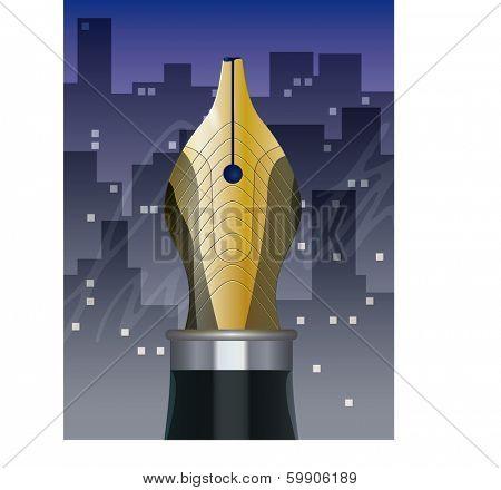 Fountain Pen Nib, Night Cityscape and Signature. Vector Illustration.