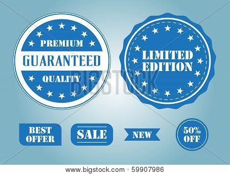 Set of blue labels and badges