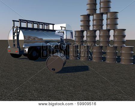 Oil Barrels And Tanker