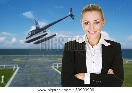 business woman stand on helipad