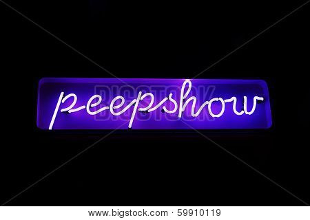 Neon Peepshow Sign From The Red Light District