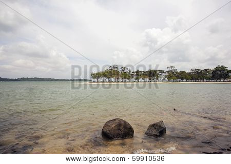 Changi Point Beach With Ubin Island View