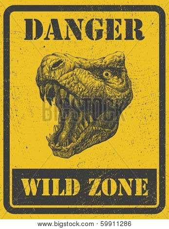 warning sign. danger signal with dinosaur. vector eps 8