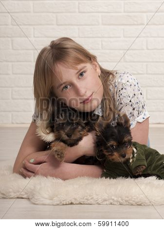 Beautiful young happy girl holding small dogs
