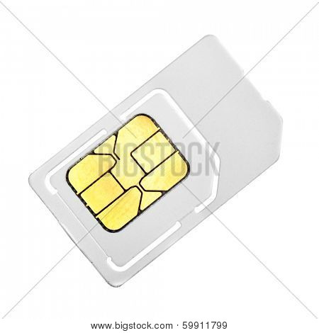 SIM card close-up isolated over white background
