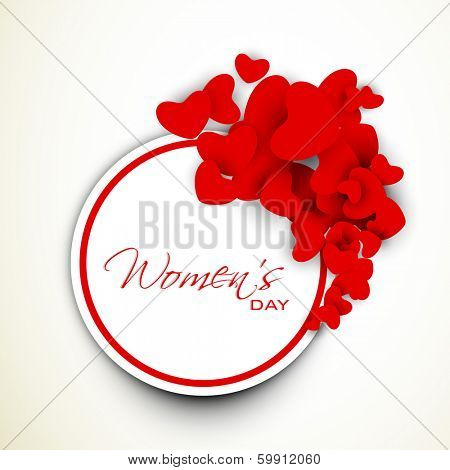 Happy Womens Day sticker, tag or label with red heart decorated on grey background.