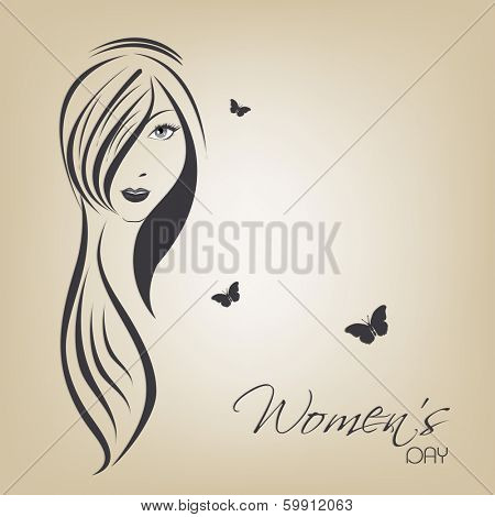 Happy Womens Day greeting card or poster design with illustration of a girl with long hairs on brown background.