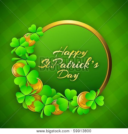 Happy St. Patrick's Day celebration poster, banner or flyer with golden frame decorated with clover leaves on green background.