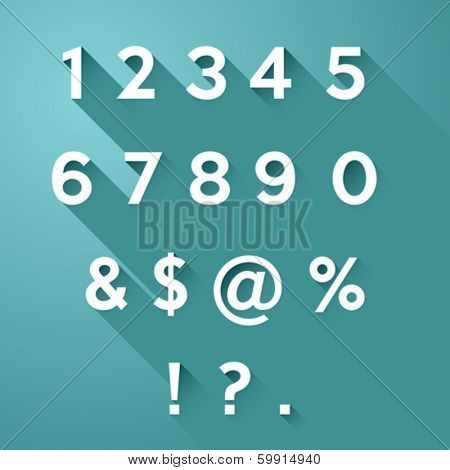 Vector set of long flat shadow numbers and signs on teal background