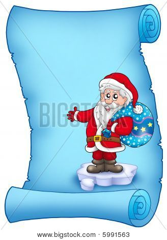 Blue Parchment With Santa Claus 3