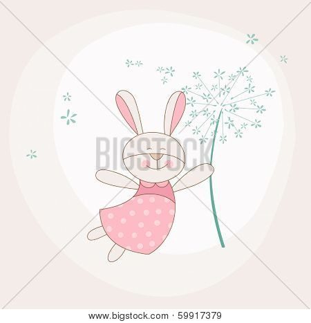 Baby Shower or Arrival Card - Baby Bunny with Flower - in vector