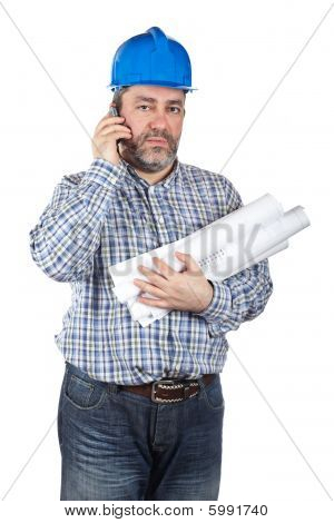 Construction Worker Talking With Phone