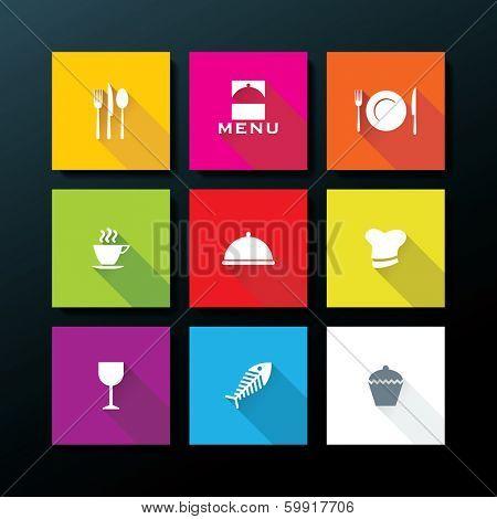 Flat restaurant icon set - vector illustration