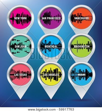 Map pins with New York, San Francisco, Vancouver, Puerto Rico, Montreal, Washington, Las Vegas, Los Angeles and Miami - vector illustration