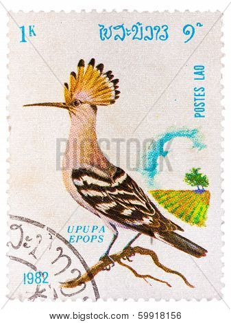 Stamp Printed In Laos Shows Hoopoe (upupa Epops), From Series Birds