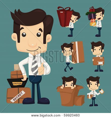 Set Of Businessman Moving Office And Packing In Boxes Characters Poses