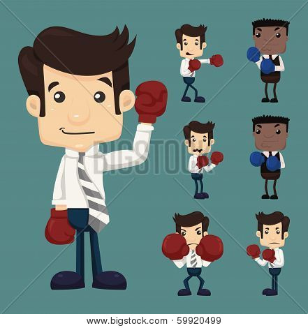 Set Of Businessman Fight With Boxing Gloves Characters Poses