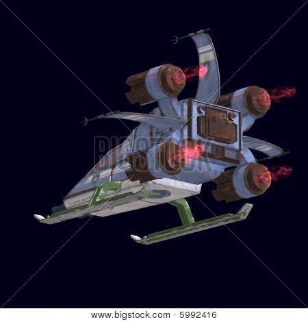 Robot futurista de ciencia ficción transformadora y nave espacial