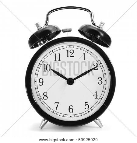 a typical mechanical alarm clock on a white background