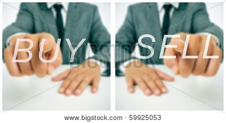 pictures of a businessman sitting in a desk pointing the words buy and sell written in the foreground