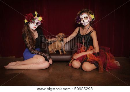 Day Of The Dead Girls With Dog