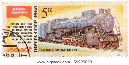 Stamp Printed In The Ussr Shows The Fd 21-3000 Steam Locomotive Made In 1941