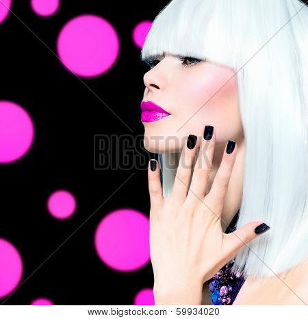 Fashion Vogue Style Model Portrait. Beauty Woman with White Hair and Black Nails. Disco Party Girl Portrait. Purple Makeup. Over Black Background