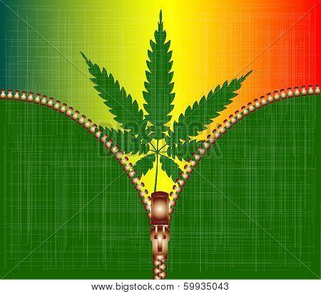 Zipper Cannabis Leaf