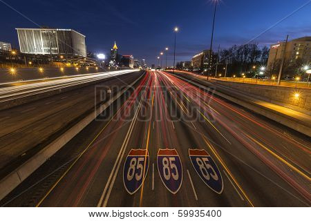 ATLANTA GEORGIA - FEBRUARY 15, 2014:  Fast traffic on Atlanta's Interstate 85 freeway at night.